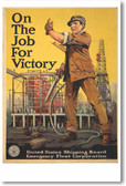 On the Job for Victory - NEW Vintage WW2 Reprint Poster