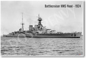 Battlecruiser HMS Hood - 1924 - NEW Military Poster
