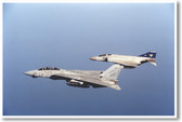 F-14A Tomcat aircraft with a Royal Air Force Phantom - NEW Military Poster