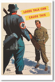 Loose Talk Can Cause This - NEW Vintage WW2 Reprint Poster