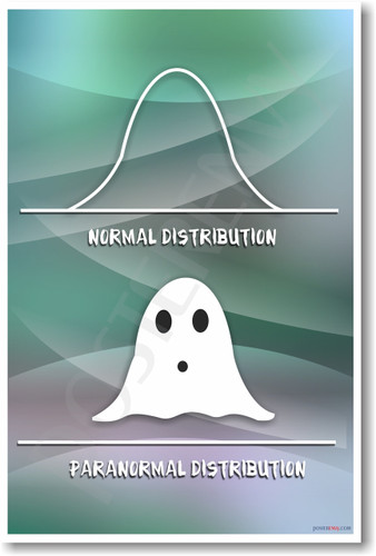 Paranormal Distribution NEW Humor Math Statistics Poster (hu149) stats math mathematics curve x axis y axis graphs ghost