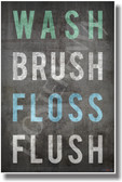 Wash Brush Floss Flush - NEW Health Poster