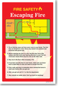 NEW Safety Cautionary POSTER - Fire Safety - Escaping Fire