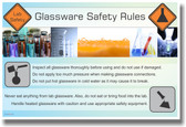 NEW HEALTH Safety Cautionary POSTER - Glassware Safety Rules