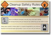 NEW HEALTH Safety Cautionary POSTER - Cleanup Safety Rules