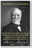 "Andrew Carnegie - ""People Who Are Unable to Motivate Themselves..."" - NEW Famous Person Poster"