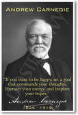 "Andrew Carnegie - ""If You Want to Be Happy..."" - NEW Famous Person Poster"