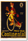 Continental Unicycle - NEW Vintage Reprint Poster