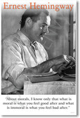 Ernest Hemingway - About Morals - NEW Famous Person Poster