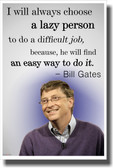 Lazy People - Bill Gates - NEW Famous Person Poster