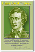 """Henry David Thoreau """"As you simplify your life"""" American Author Classroom POSTER"""