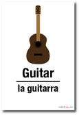 La Guitarra - Guitar In Spanish - NEW Foreign Language Educational POSTER