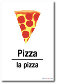La Pizza - Pizza In Spanish - NEW Foreign Language Educational Classroom POSTER