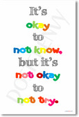 It's Okay To Not Know But It's Not Okay To Not Try - NEW Classroom Motivational PosterEnvy Poster