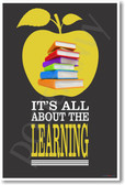 Books & Apple - It's All About The Learning - Vertical - NEW Classroom Motivational PosterEnvy Poster