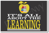It's All About The Learning Books and Apple - Horizontal - NEW Classroom Motivational PosterEnvy Poster