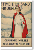 Five Thousand Nurses By June - NEW Vintage Reprint Poster