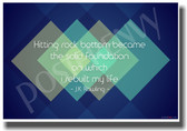 Hitting Rock Bottom Became The Solid Foundation On Which I Rebuilt My Life - Harry Potter British Author JK Rowling - (Blue Background) NEW Classroom Motivational PosterEnvy Poster