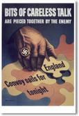 Bits of Careless Talk - NEW Vintage Reprint Poster