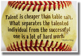 Talent Is Cheaper Than Table Salt - Baseball - Stephen King NEW Classroom Motivational PosterEnvy Poster