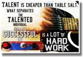 Electric Guitar Guitarist Practice - Stephen King Quote - Talent Is Cheaper Than Table Salt What Separates the Talented Individual from the Successful is a Lot of Hard Work - NEW Classroom Motivational PosterEnvy Poster