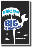 Whale Spout Big Results Require Big Ambitions - NEW Classroom Motivational PosterEnvy Poster