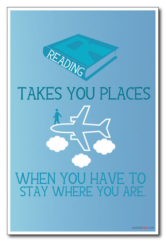 Book Airplane Library School adventure Reading Takes You Places - NEW Classroom Motivational PosterEnvy Poster