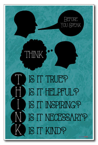 Think Before You Speak - Is It True, Helpful, Inspiring, Necessary, Kind - NEW Classroom Motivational PosterEnvy Poster