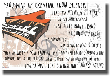 Songwriters - You Wind Up Creating From Silence - NEW Classroom Musicians Composers Motivational Poster PosterEnvy