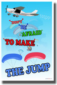 Parachute Words - Don't Be Afraid To Make The Jump - NEW Classroom Motivational PosterEnvy Poster