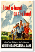 Lend A Hand On The Land - NEW Vintage Reprint Poster