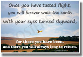 Airplane Flying - Once you have tasted flight, you will forever walk the Earth with your eyes turned skyward, for there you have been and there you will always long to return - Leonardo da Vinci Motivational PosterEnvy Poster