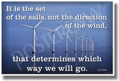 It's The Set of Sails Not the Direction of the Wind That Determines Which Way We Will Go - Jim Rohn - NEW Classroom Motivational Wind Turbine Ecology Green Energy Poster (cm769)