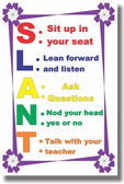 SLANT - NEW Classroom Motivational Poster