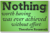 Nothing Worth Having - Theodore Roosevelt - Simple - NEW Motivational Poster