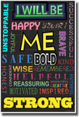 I Will Be - Color - NEW Classroom Motivational Poster
