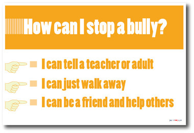 No Bullying Behavior - How Can I Stop A Bully? Classroom Motivational Poster