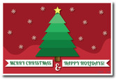 Merry Christmas & Happy Holidays Christmas Tree and Snow Falling Holiday Poster