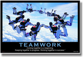 Teamwork - (Sky Diving) Coming Together is a Beginning. Keeping Together is Progress. Working Together is Success. - Henry Ford