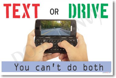 Text or Drive - You Can't Do Both - Safe Driving PosterEnvy Poster