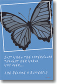 Just when the caterpillar thought her world was over… she became a butterfly