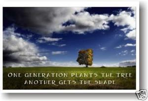 One generation plants the tree, another gets the shade - Classroom Motivational Poster (cm134)