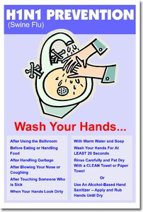 H1N1 (Swine Flu) Prevention Poster - Health and Safety Poster (cm125)