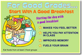 For Good Grades Start With a Good Breakfast - Classroom Health and Nutrition Poster (cm123)