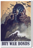 Buy War Bonds - NEW Vintage Reproduction Poster