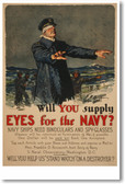 Will You Supply Eyes For The Navy?  Vintage WW2 Poster