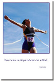 "Finish Line - ""Success is dependent on effort"" - Sophocles - Classroom Motivational Poster Print Gift"