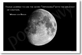 Moon I have learned to use the word impossible with the greatest of caution Wernher von Braun Classroom Motivational Poster Print Gift