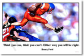"PosterEnvy - Football Player - ""Think you can, think you can't. Either way you will be right."" - Henry Ford - Poster Print Gift"