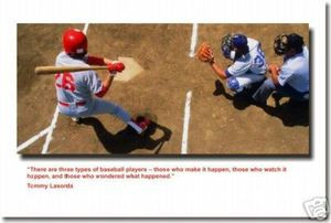 "Batter at the Plate - ""There are 3 types of baseball players - Those who make it happen, those who watch it happen and those who wonder what happened."" Tommy Lasorda - Poster Print Gift"